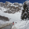 Snow at Fuente De, the road to the cable car -