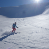 Skiing a powder-filled bowl -