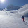 Skiing powder in the sun -