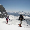 Mike and Bridget ski touring, March 2009, by Greg Dufour